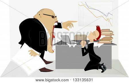 Angry boss. Chief scolds his employee illustration