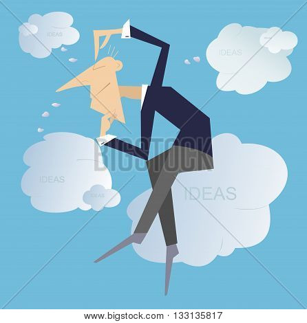 Thinking man .Thinking man sitting on the clouds creates new ideas