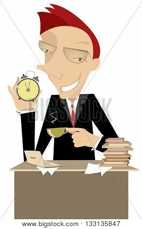 Coffee time Businessman or a manager carries the clock and reminds that it is time for a cup of coffee