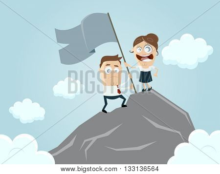 business team reaching the top of the mountain