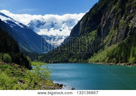 Mountain lake landscape in the Stilluptal. Austria Tyrol.