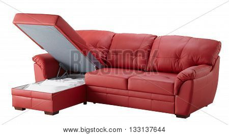 Red Leather Corner Couch Bed Isolated On White