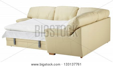 White Leather Corner Couch Bed Isolated On White