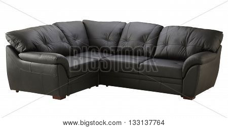 Black Brown Leather Sofa Bed Isolated On White