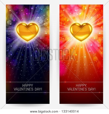 Festive bright backgrounds with golden hearts rays and glow congratulatory text below for Valentine's Day. Vertical rectangular banners