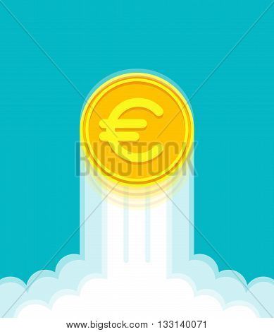 Gold coin with euro sign at high speed is rising up. Currency strengthening and increasing of euro exchange rate