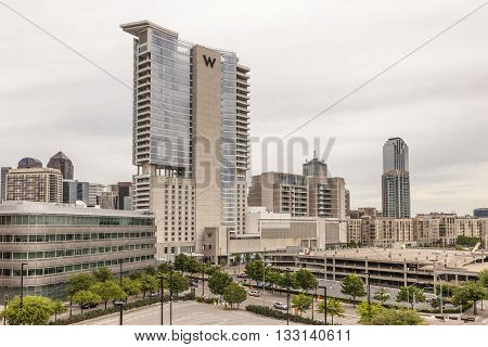 DALLAS USA - APR 8: W Dallas Hotel building in the Victory Park in Dallas Downtown. April 8 2016 in Dallas Texas United States