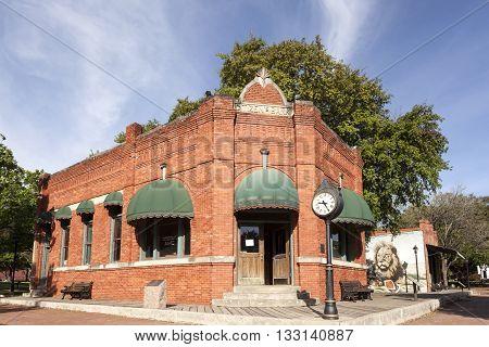 DALLAS USA - APR 8: Historic brick building of the Citizen Bank in Dallas Heritage Village. April 8 2016 in Dallas Texas United States