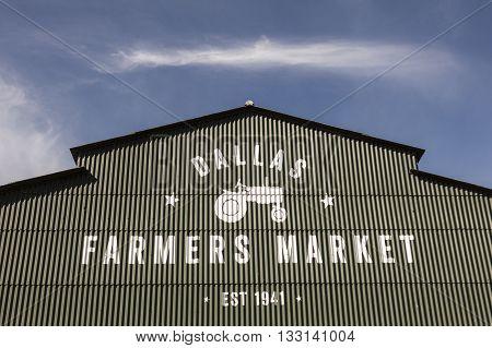 DALLAS USA - APR 8: Exterior of the Farmers Market hall in Dallas. April 8 2016 in Dallas Texas United States