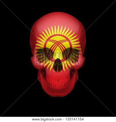 Human skull with flag of Kyrgyzstan. Threat to national security war or dying out