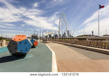DALLAS USA - APR 8: Continental Avenue Pedestrian Bridge in Dallas. April 8 2016 in Dallas Texas United States