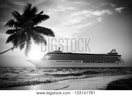 Summer Tropical Island Beach Cruise Ship Concept