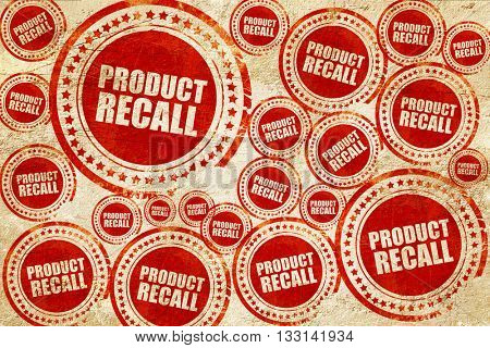 product recall, red stamp on a grunge paper texture