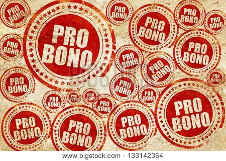 pro bono, red stamp on a grunge paper texture