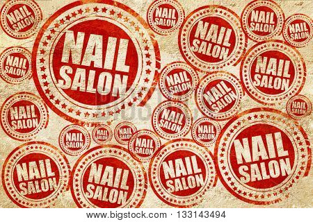 nail salon, red stamp on a grunge paper texture