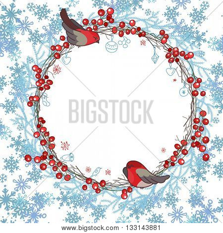 Round frame with ilex branches, snowflakes  and bullfinches sitting on it. Red and blue color.Traditional wreath for  Christmas design, greeting cards, invitations, posters,advertisement.