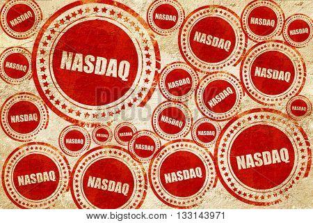 nasdaq, red stamp on a grunge paper texture