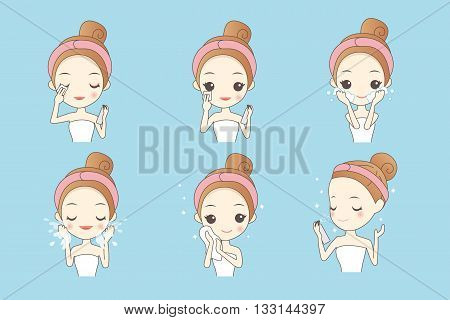 cartoon girl cleaning and care face Healthy Lifestyle Concept