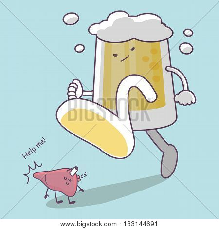 cute cartoon giant beer step on liver great for Health care concept
