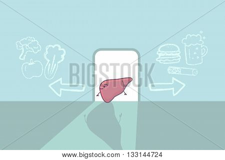cute cartoon liver think confused between health and unhealthy food great for health care concept