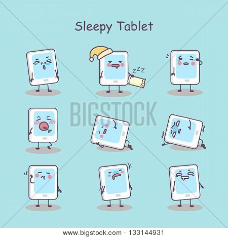 Sleepy cartoon digital tablet pc set great for your design