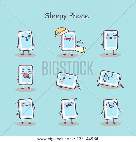 Sleepy cartoon smart phone set great for your design