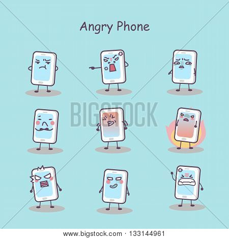 Angry cartoon smart phone set great for your design