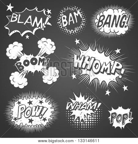 Comic Book Sound Effects - Collection of chalkboard comic book speech bubbles and sound effects. Each object is grouped individually and colors are global swatches.