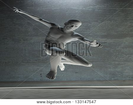 Athletic Male Figure in White 3D Render