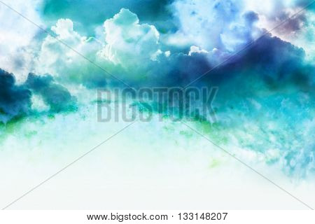 Abstract watercolor illustration of cloud. Watercolor illustration of sky. Abstract background.