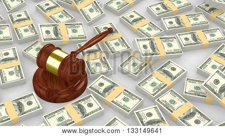 Gavel on a huge pile of us dollar 3D illustration
