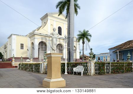 Cathedral near the central square in Trinidad, Cuba. City of Trinidad is a UNESCO World Heritage Site.