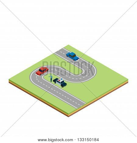 Isometric road tile with cars and police car