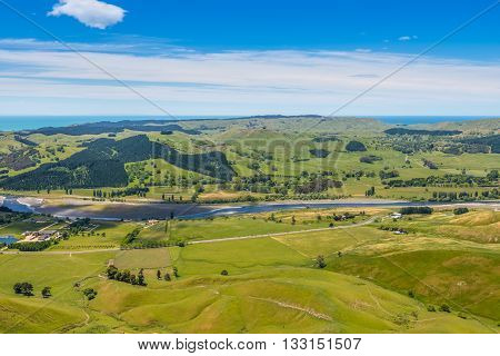 View from Te Mata Peak to the Tukituki River - Hawkes Bay North Island New Zealand