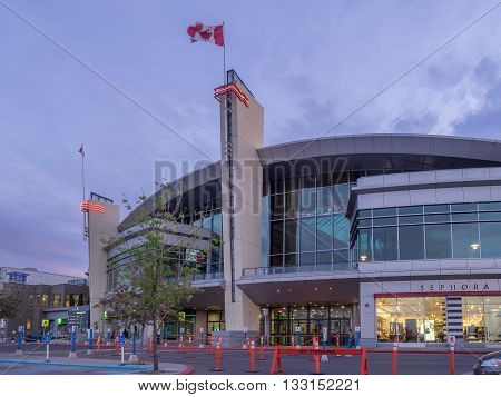 CALGARY, CANADA - JUNE 3: Chinook Centre shopping mall at sunset on June 3, 2016 in Calgary, Alberta Canada. Chinook mall is one of the busiest malls in Alberta and Canada.