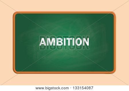 ambition text with green board chalk effect vector graphic illustration