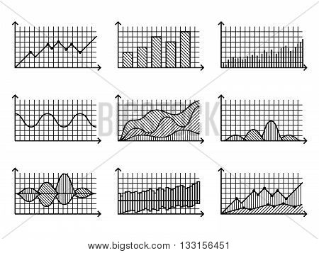 Graphs and charts in thin line style. Outline graphs charts for infographic vector illustration