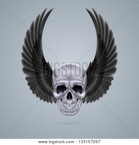 Human skull with two raised crow wings.