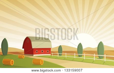 Red farm barn at sunset, countryside landscape, cartoon vector illustration.