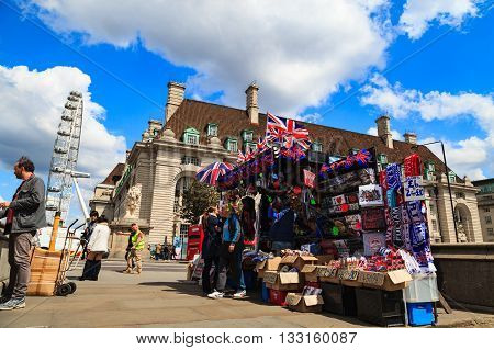 LONDON UNITED KINGDOM - 23 MAY 2016: The souvenir shop at Big Ben and house of parliament on Sunny Day London UK