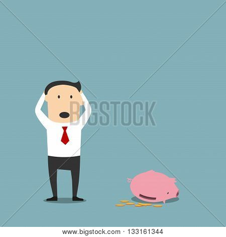 Frustrated cartoon bankrupt businessman is standing with empty piggy bank and clutching head in shock. Bankruptcy, poverty and insolvency concept design usage