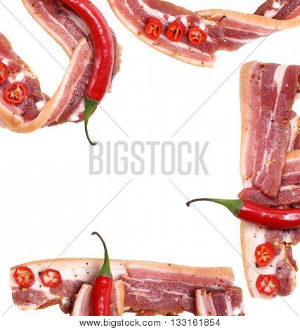 Bacon. Fresh Meat. Bacon and red chili peppers. Fresh bacon