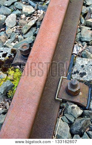 Fixation of rail of railroad with nuts. And rubber insulating soles and nylon.