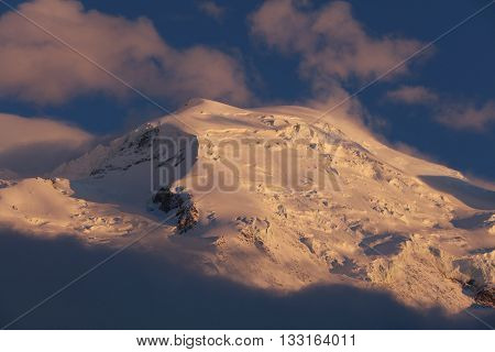 Mont Blanc Summit on sunset from Chamonix. France