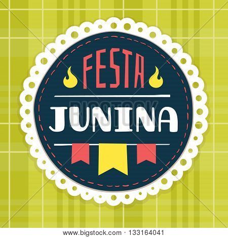 Festa Junina, brazilian june fest badge for headers, invitations, etc