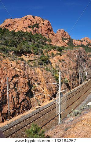 Saint Raphael France - april 14 2016 : the railway line of Esterel Massif