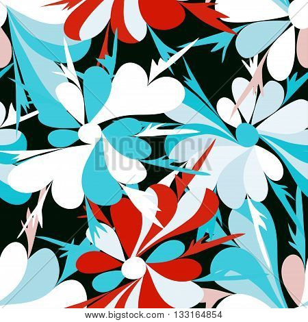 small flowers on red background seamless pattern