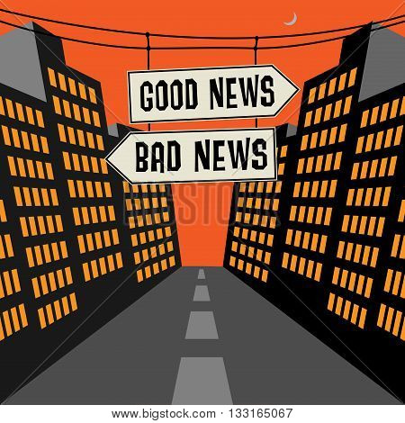 Road sign with opposite arrows and text Good News - Bad News, vector illustration