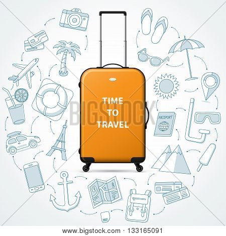 Time to travel, planning of summer vacation concept illustration with realistic luggage suitcase and the set of tourism and journey doodle icons
