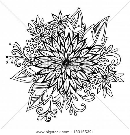 Calligraphic Vintage Pattern, Symbolic Flowers and Leafs, Abstract Floral Outline Ornament, Black Contours Isolated on White Background. Vector